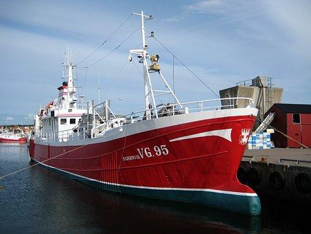 Träslövsläge, Fishing Boat, Red, Port, Water, Kaj