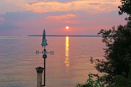 Sunset, Lake Erie, Clouds, Dusk, Orange, Reflection