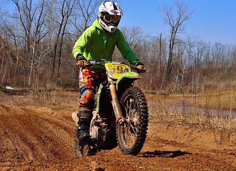 Dirt Bike, Jump, Mud, Motorcycle, Vehicle, Action