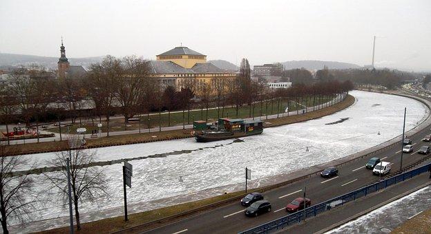 River, Saar, Theater, Saarbrücken, Ship, Landscape