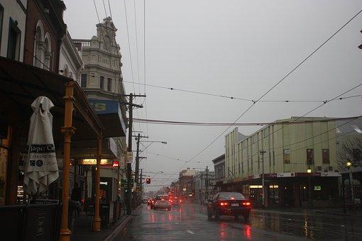 Rain, Street, Shops, Wet, Car, Tram Lines