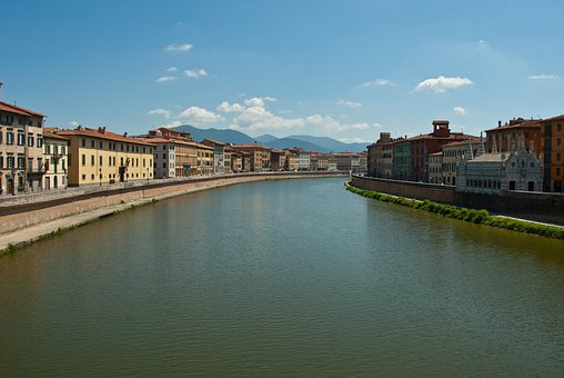 Pisa Pl, Italy, Sky, Clouds, Canal, River, Waterway