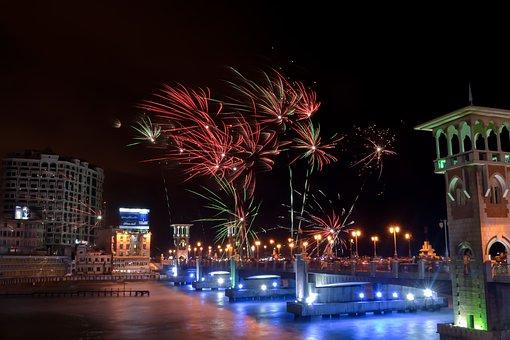 Stanley Bridge, Alexandria, Egypt, Firework, Fireshow