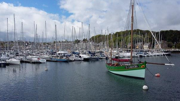 Perros-guirec, France, Beach, Boats, Yachts, Water