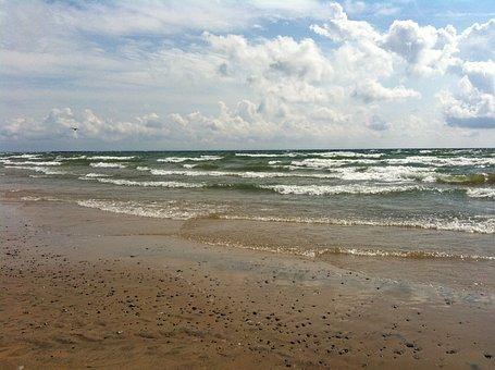 Beach, Water, Lake, Shore, Sand, Waves, Lake Erie, Wave