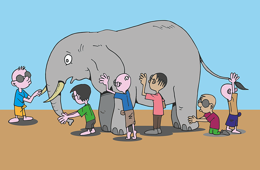 Blind Men, Elephant, Story, Feel, See, Cartoon, Animal