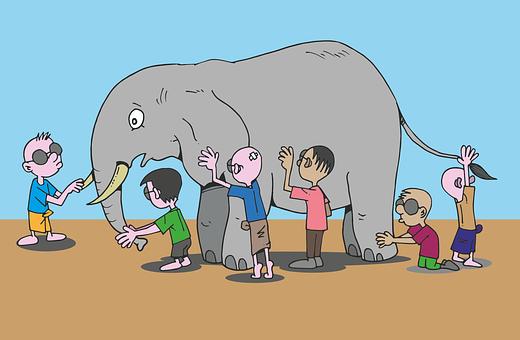 Blind Men, Elephant, Story, Feel, See, Cartoon, Animal