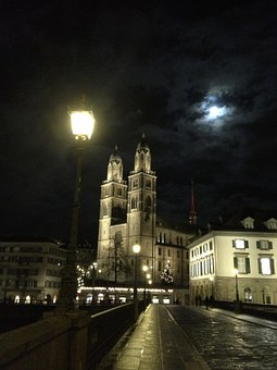 Zurich, Grossmünster, Night, Church
