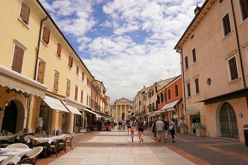Road, Alley, Bardolino, City, Architecture, Homes
