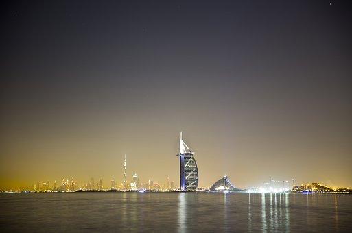 Arabic, Arabian, Night, Dubai, Bay, Gulf, Water