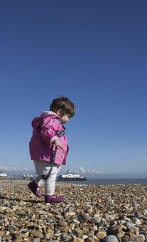 Girl, Young, Beach, Eastbourne, Daydream, Sun, Little
