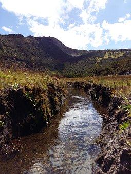 River, Nature, Celeste, Mountains, Landscape, Lawn
