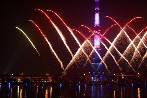 Moscow, Night City, Night Lights, Ostankino Tower