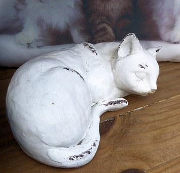 Sleeping Cat, Painted Clay, Outdoors, Garden Ornament