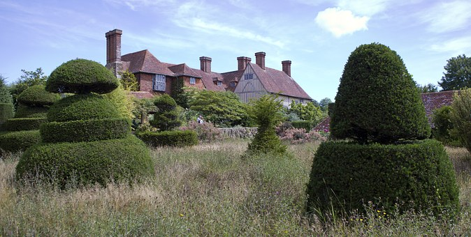 Great Dixter, House, Topiary Lawn, Yew, Meadow