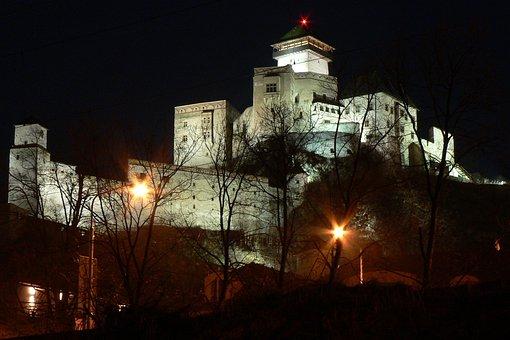 Slovakia, Trenčín, Castle, Night, Old, Historical