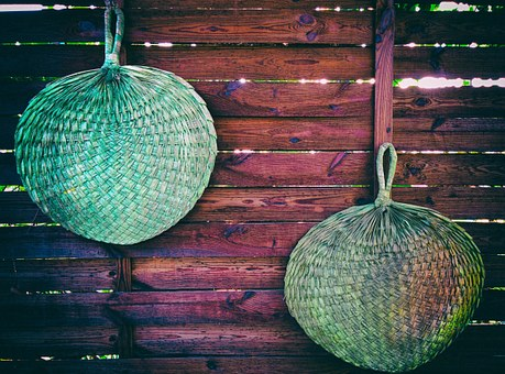 Wood, Woven, Paddle Fans, Palm, Tropical