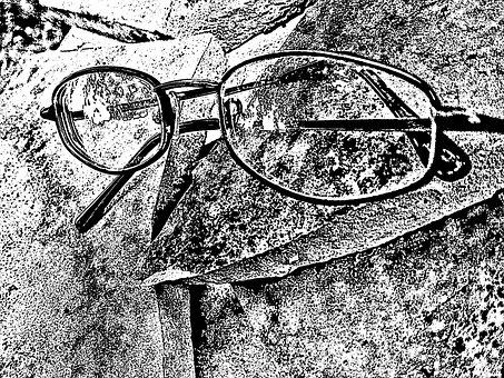 Eyeglasses, Spectacles, Glasses, Artistic, Black, White