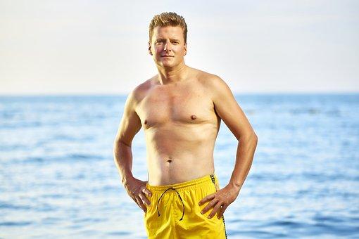 Men, Beach, Summer, Sea, Person, Male, Yellow Shorts