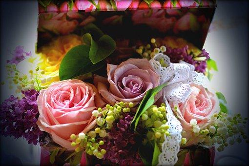 Bouquet, Rose, Liliac, Flowers, Box, Spring