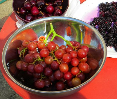 Grapes, Cherries, Blackberries, Fruit, Food, Healthy