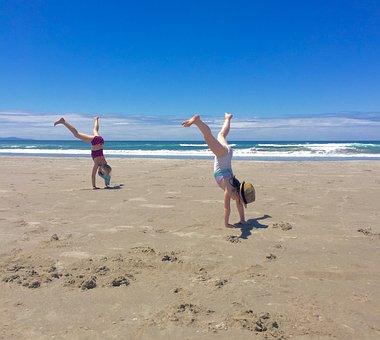 Cartwheel, Fun, Beach, Summer, Active, Happiness, Sand