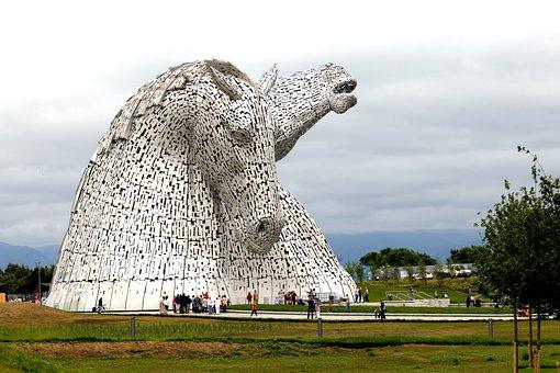 Horses, Monument, Scotland, Kelpies, Theme, Park