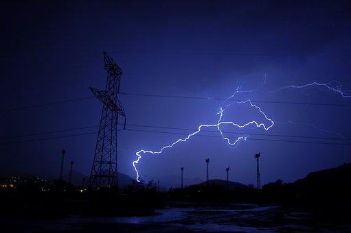 Lightning, Ray, Night, Storm, Sky, Shadows, Shadow