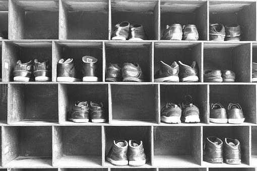 Shoe, Shoe Rack, Rack, Black And White, Stack, Level