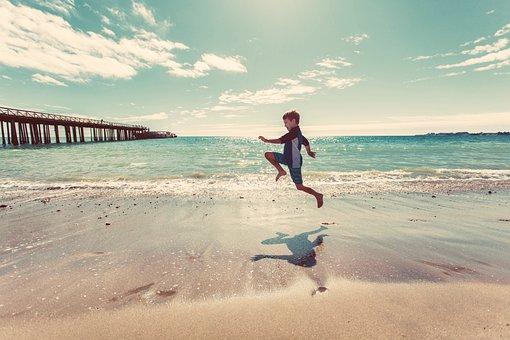 Boy, Beach, Sand, Shore, Water, Waves, Ocean, Sea, Pier