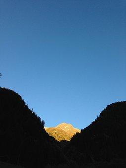 Kaltbrunn, Kaunertal, Tyrol, Mountain, Sunset, Sky