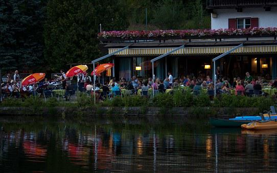 Evening, Lakeside, Cafe, Entertainment, Water Refection