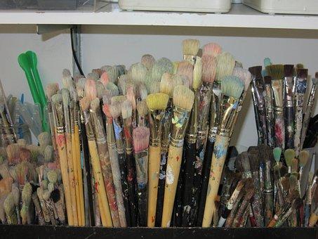 Brush, Colorful, Artelier, Paint, Art, Color, Painting