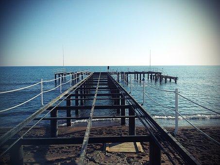Web, Water, Crossing, Bridge, Nature, Lake, Lomo, Blue