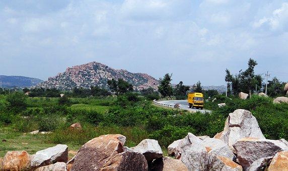 Plateau, Rocks, Hillocks, Hills, Highway, Truck