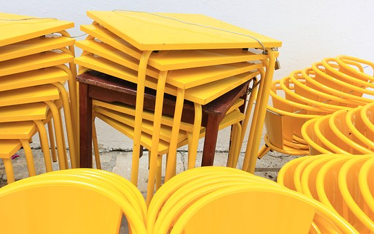 Portugal, Lisbon, Restaurant, Chars, Tables, Stacked