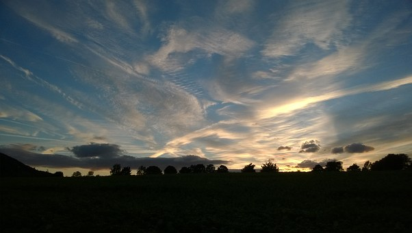 Sunset, Sauerland, Backlighting, Nature, Sky