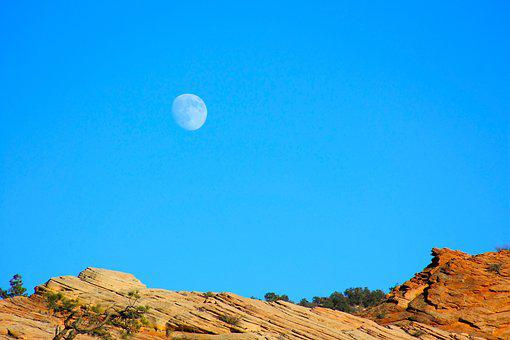 Moon, Blue, Red, Rock, Nature