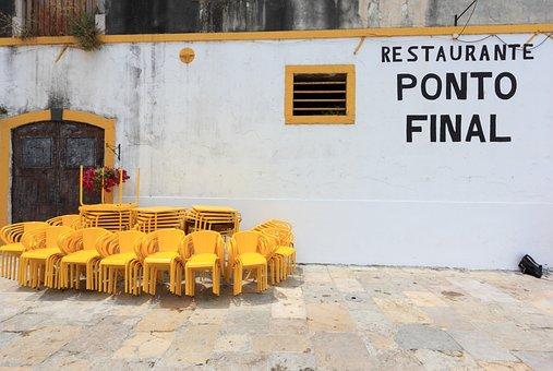 Portugal, Lisbon, Restaurant, Char, Table, Stacked