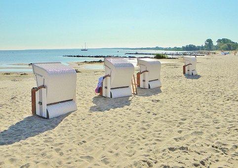Clubs, Sand Beach, Sea, Baltic Sea, Rest, Blue Sky