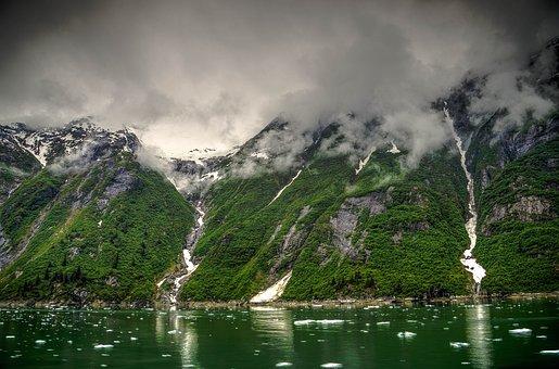 Tracy Arm, Alaska, Glacier, Ice, Mountains, Snow