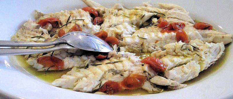 Grilled Rombo, Fish, Tomatoes, Herbs, Seafood, Italy