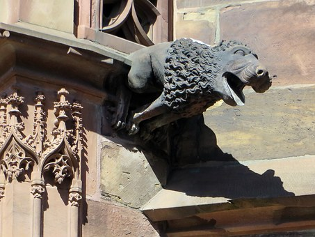 Rstrasbourg, Alsace, Cathedral, Gargoyle, Architecture