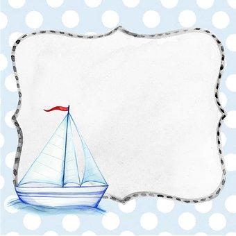 Ship, Background, Boat, Blue, Boy, Scrapbook, Page