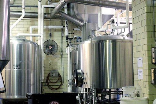 Beer, Brewery, Metal Tanks, Brewing, Steam, Machine