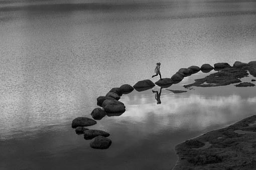 Child, Stones, Bank, Out, Play, Water, Rock, Jump