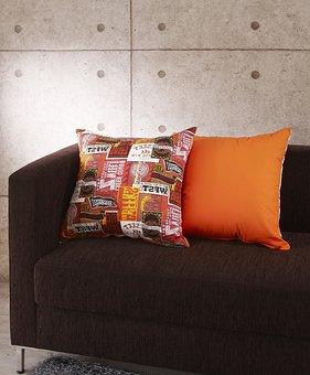Cushion, Cushions, Fabric Sofa, Orange Color, Interior