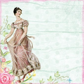 Background, Scrapbook, Edwardian, Girl, Roses, Green