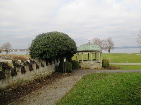 Pavilion, Way, Park, Trees, Wall, Lake, Lake Constance