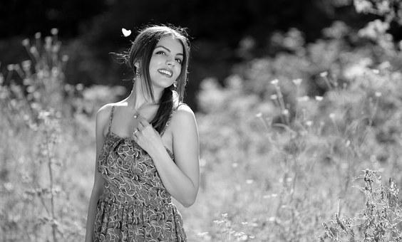 Girl, Butterfly, Nature, Smile, Summer, Beauty